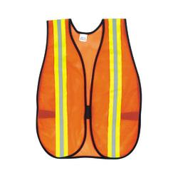 MCR Safety Polyester Safety Vest, One Size, 18in. x 47in., Bright Orange/Lime/Silver