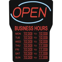 Royal Sovereign Business Hours Open Sign - 1 Each - Open, Business Hour Print/Message - 16in. Width x 24in. Height - Rectangular Shape - Blue