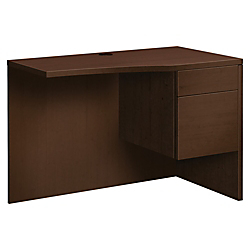 HON 10500 Series Curved Right Return - 42in. x 24in. x 29.5in., 42in. x 24in. Work Surface, Edge - 2 x Box Drawer(s), File Drawer(s) - Single Pedestal on Right