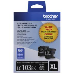 Brother(R) LC103 High-Yield Black Ink Cartridges, Pack Of 2