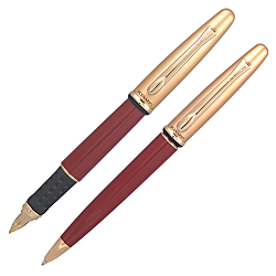 Yafa Scenario Fountain Pen And Ballpoint Pen Set, Medium Point, 1.0 mm, Red Barrel, Black/Blue Ink