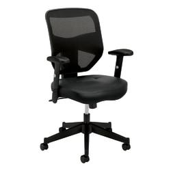 basyx by HON HVL531 Mesh High-Back Task Chair - SofThread Leather Black Seat - Black Back - 5-star Base - 29in. Width x 36in. Depth x 42.5in. Height
