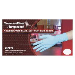 DiversaMed 14mil ProGuard High-Risk EMS Exam Glove - X-Large Size - Latex - Blue - Disposable, Non-sterile, Beaded Cuff, Powder-free, Ambidextrous - For Medical