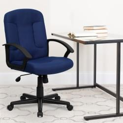 Flash Furniture Fabric Mid-Back Swivel Chair, Navy/Black