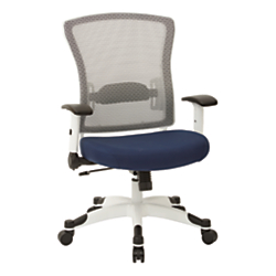 Office Star(TM) Space Seating Mesh Mid-Back Chair, Navy/White