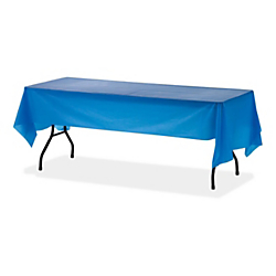 Table Mate Plastic Table Covers, 54in. x 108in., Blue, Pack Of 6