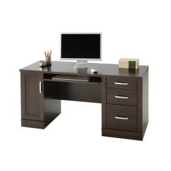 Sauder(R) Office Port Computer Credenza, 29 1/2in.H x 59 1/2in.W x 23 1/2in.D, Dark Alder