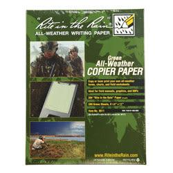 Rite in the Rain(R) Tactical All-Weather Copier Paper, Letter Size Paper, Green, Pack Of 200