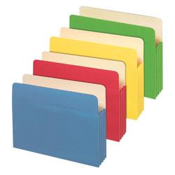 Office Depot(R) Brand File Cabinet Pockets, Letter Size, 3 1/2in. Expansion, Assorted Colors, Pack Of 5 Pockets