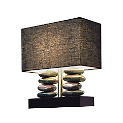 Elegant Designs Stacked Stone Ceramic Table Lamp, 14 1/2in.H, Black Shade/Black Base