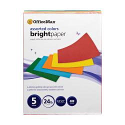 Office Depot(R) Brand Brights Paper, Letter Paper Size, 24 Lb, Assorted Colors, Pack Of 400 Sheets