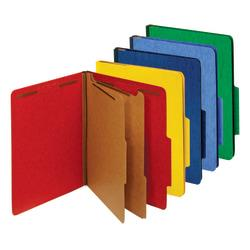 Office Depot(R) Brand Classification Folder, Letter, 2 Dividers, Embedded Fasteners, Assorted Colors, Pack Of 5 Folders
