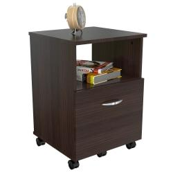 Inval Mobile File Cabinet, 1 Drawer, 23in.H x 15 2/3in.W x 15 2/3in.D, Espresso Wengue