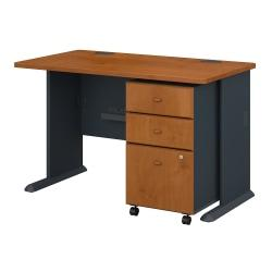 Bush Business Furniture Office Advantage 48in.W Desk With Mobile File Cabinet, Natural Cherry/Slate, Standard Delivery