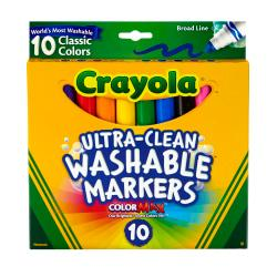 Crayola(R) Ultra-Clean Washable Markers, Broad Tip, Assorted Classic Colors, Box Of 10