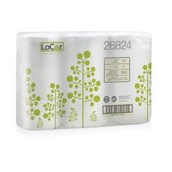 LoCor 2-Ply Bath Tissue, White, 1,500 Sheets Per Roll, 506 1/4ft. Roll, Pack Of 18 Rolls