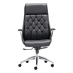 Zuo(R) Modern Faux Leather Mid-Back Boutique Office Chair, Black/Chrome