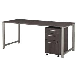 Bush Business Furniture 400 Series Table Desk with 3 Drawer Mobile File Cabinet, 72in.W x 30in.D, Storm Gray, Premium Installation