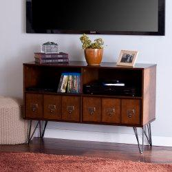 Southern Enterprises Blankenship Media Console For 40in. Flat-Screen TVs, Gunmetal Gray/Whiskey Maple
