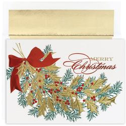 Great Papers! Holiday Greeting Cards With Envelopes, 7 7/8in. x 5 5/8in, Christmas Holly, Pack Of 16
