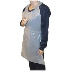 Genuine Joe 50in. Disposable Poly Apron - Polyethylene - For Food Service, Industrial - White - 100 / Pack