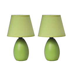 Simple Designs Mini Egg Table Lamps, 9 1/2in.H, Green Shade/Green Base, Set Of 2