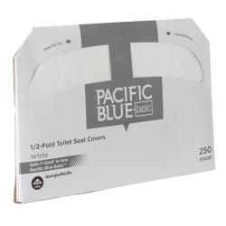 Georgia-Pacific Safe-T-Gard(TM) 1/2 Fold Toilet Seat Covers, 14 1/2in. x 17in., White, 250 Per Pack, Case Of 20 Packs