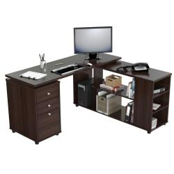 Inval L-Shaped Computer Workstation, Espresso-Wengue