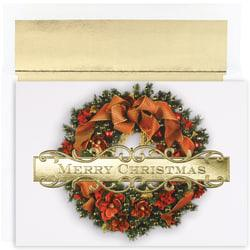 Great Papers! Holiday Greeting Cards With Envelopes, 7 7/8in. x 5 5/8in, Christmas Wreath, Pack Of 18