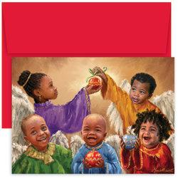 Great Papers! Holiday Greeting Cards With Envelopes, 7 7/8in. x 5 5/8in, Christmas Cherubs, Pack Of 18