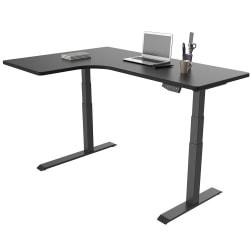 Loctek Height-Adjustable Corner Desk, Left-Handed, Black