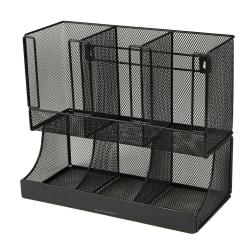 Mind Reader Flume 6-Compartment Coffee Condiment And Cup Organizer, 6 1/2in.H x 11 1/2in.W x 15in.D, Black