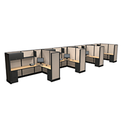 Cube Solutions (R) Full-Height Office Cubicle L-Shaped Station, Line Of 4, 67in.H x 96in.W x 72in.D, Assorted Colors