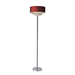 Elegant Designs Romazzino Floor Lamp, 61 1/2in.H, Red Shade/Chrome Base