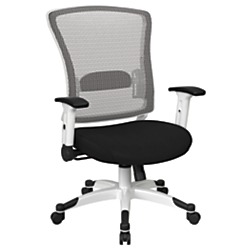 Office Star(TM) Space Seating Mesh Mid-Back Chair, Black/White
