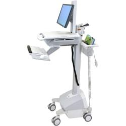 Ergotron(R) StyleView(R) Electronic Medical Records Cart With LCD Pivot, 50 1/2in.H x 18 5/16in.W x 19 3/4in.D, White/Gray/Aluminum