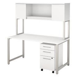Bush Business Furniture 400 Series 60in.W x 30in.D Table Desk with Hutch and 3 Drawer Mobile File Cabinet, White, Premium Installation