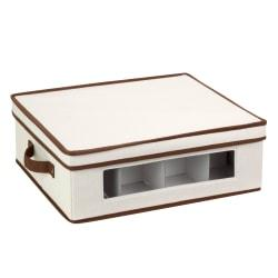 Honey-Can-Do Canvas Dinnerware Storage Box, Large, 5 3/4in.H x 14in.W x 16 1/4in.D, Brown/Natural