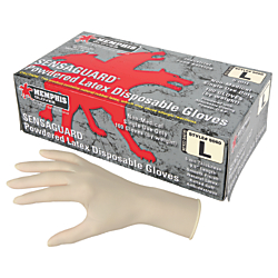 MCR Safety Latex Polymer Disposable Gloves - Large Size - Latex - White - Powdered, Disposable, Anti-microbial, Anti-bacterial - For Assembling, Food Handling,
