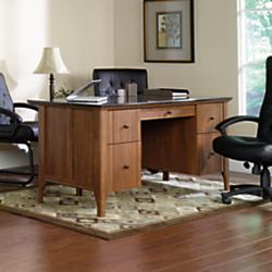 Sauder Appleton Faux Marble Top Executive Desk, Sand Pear