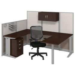 Bush Business Furniture Office In An Hour U Workstation With Storage Chair, Mocha Cherry Finish, Premium Delivery