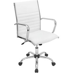 Lumisource Master Leatherette Office Chair, White/Chrome