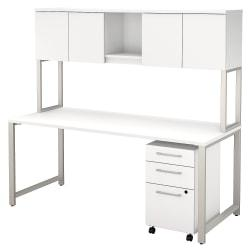 Bush Business Furniture 400 Series Table Desk With Hutch And 3 Drawer Mobile File Cabinet, 72in.W x 30in.D, White, Premium Installation