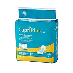 Capri Plus Bladder Control Pad Incontinent Liners, Extra Plus, 6 1/2in. x 13 1/2in., White, Case Of 28