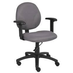 Boss Office Products Ergonomic Task Chair With Arms, Gray/Black