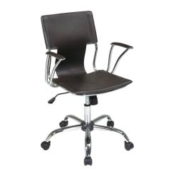 Office Star(TM) Ave Six Dorado Faux Leather Office Chair, Espresso Brown/Chrome