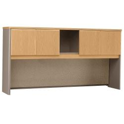 Bush Business Furniture Office Advantage Hutch 72in.W, Light Oak/Sage, Premium Installation