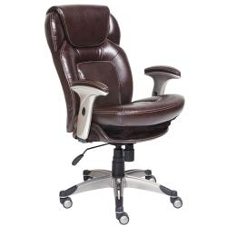 Serta(R) Back in Motion(TM) Health Wellness Mid-Back Office Chair, Bonded Leather, Frye Chocolate