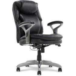 Serta(R) AIR(TM) Health Wellness Mid-Back Office Chair, Bonded Leather, Smooth Black