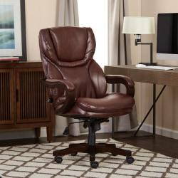 Serta Executive Big Tall Office Chair, Eco-conscious Bonded Leather, Brown, 43506